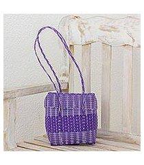 recycled plastic shoulder bag, 'purple picnic' (guatemala)