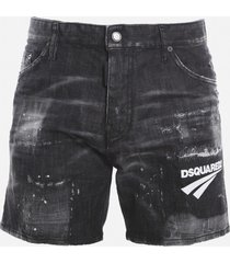 dsquared2 stretch cotton shorts with contrasting logo print