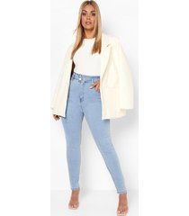 plus skinny jeans met corrigerende taille band, light wash