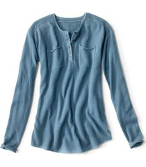 garment-dyed cashmere henley sweater