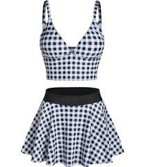 checked padded high waist skirted tankini swimwear