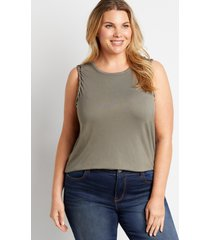 maurices plus size womens 24/7 solid braided arm tank top blue