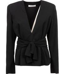 philosophy di lorenzo serafini bow belt waist detail v-neck shirt