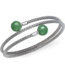 green jade (10 mm) flexible wrap bracelet in sterling silver