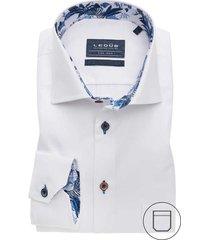 ledûb overhemd wit contrast kraag 0138618/910150