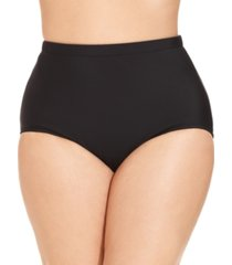 swim solutions plus size mid-rise tummy-control swim bottoms women's swimsuit