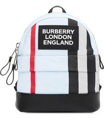 burberry kids mochila com aplicação de logo icon e listras - azul