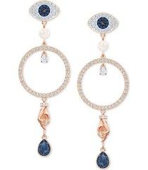 swarovski rose gold-tone crystal evil-eye, hoop & hand drop earrings
