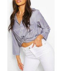 chambray twist front shirt, blue