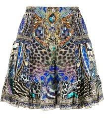camilla animal-army print silk skirt - blue