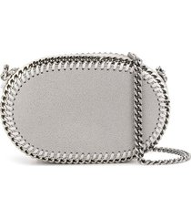 stella mccartney oval falabella crossbody bag - grey