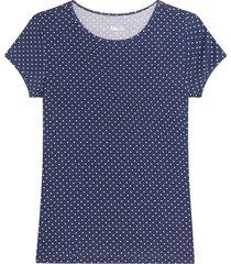 camiseta m/c con estampado mini puntos color azul, talla l