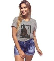 camiseta joss mescla premium buda meditação feminina