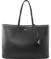 jimmy choo black calf leather tote handbag