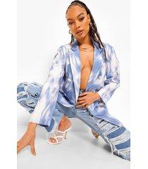 oversized monochrome tie dye blazer, powder blue