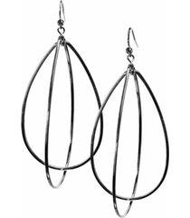 "guess 3"" silver-tone teardrop hoop earrings"