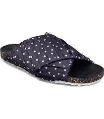 dot strap sandal shoes summer shoes flat sandals blå becksöndergaard