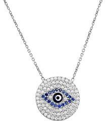 sterling silver white & blue crystal evil-eye pendant necklace
