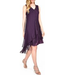 women's komarov asymmetrical ruffle charmeuse dress
