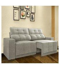 sofá 5 lugares net jaguar assento retrátil e reclinável areia 2,50m (l)