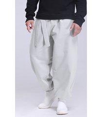 hombre vendimia casual anudado suelto estilo chino pantalones