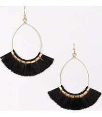 maurices womens black fringe hoop earrings