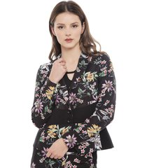 blazer bunnys flores negro - calce ajustado
