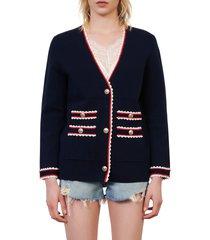 women's maje moulinette crochet trim cardigan, size 3 - blue