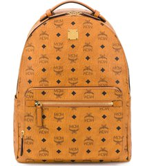 mcm all over logo print backpack - brown