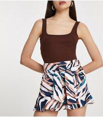 river island womens brown animal print frill hem shorts
