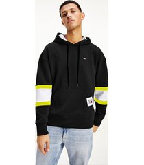 tommy hilfiger men's organic cotton hoodie black / faded lime - xxl