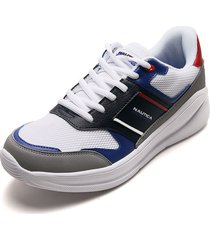 tenis lifestyle blanco-azul-gris-rojo nautica