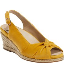 women's earth thara bermuda peep toe wedge sandal, size 6.5 m - yellow