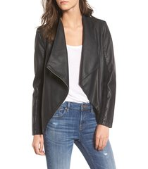 women's bb dakota gabrielle faux leather asymmetrical jacket, size xx-small - black
