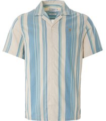 farah theroux stripe organic cotton short sleeve shirt | cream | f4wsb039-253