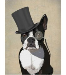 "fab funky boston terrier, formal hound and hat canvas art - 19.5"" x 26"""