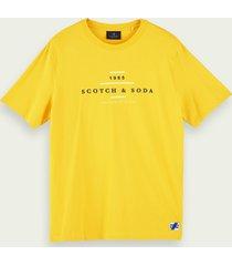 scotch & soda t-shirt van 100% katoen met korte mouwen en logo
