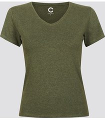 t-shirt i bomull med v-ringning - militärgrön