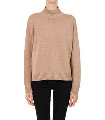 ganni wool sweater camel