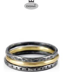 pierścionek texture - 3 obrączki srebro t10
