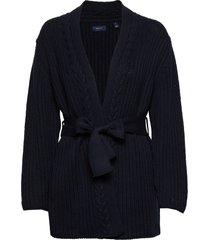 d1. ribbed cotton cardigan gebreide trui cardigan blauw gant