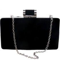 bolsa clutch liage veludo metal alça removível preta prata