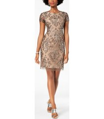 adrianna papell damask sequined mesh dress