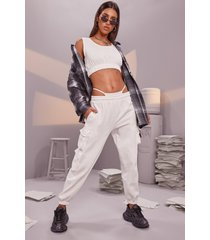 crop top & cargo pant jogger set, cream