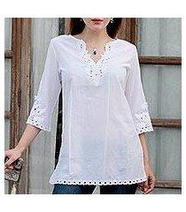 cotton tunic, 'white simplicity' (india)
