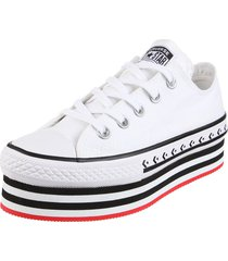 zapatilla blanca converse chuck taylor as platform layer ox