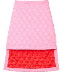 burberry asymmetric diamond quilted skirt - pink