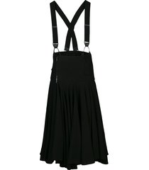 y's suspender-strap gathered midi skirt - black