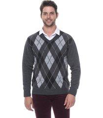 blusa jacquard escocês passion tricot grafite