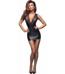 noir handmade mouwloos wetlook jurkje met diep decollete